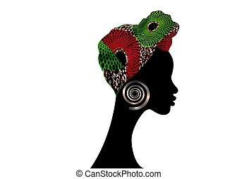 kobiety, odizolowany, ankara, ikona, portret, tradycyjny, shenbolen, headtie, zawija, tło, wektor, biały, turban., kente, barwny, szalik, głowa, logo, headwrap, piękny, woman., design., budowla, afrykanin