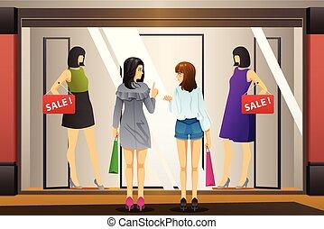kobiety, okno shopping, przed, niejaki, odzież zapas