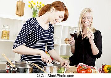 kobiety, przyjaciele, mąka, przygotowując