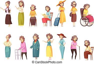 kobiety, senior, komplet, rysunek, ikony