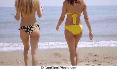 kobiety, sexy, bikini, wspaniały, chodząc, młody