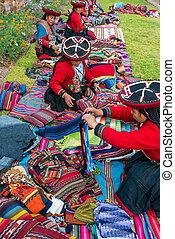 kobiety, sprzedajcie, handcraft, peruwiański, andy, cuzco,...