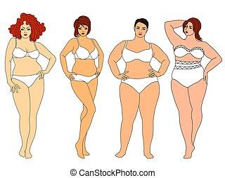 kobiety, tłuszcz, godny podziwu, cztery