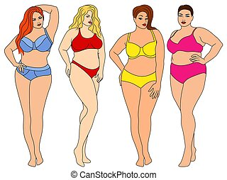 kobiety, tłuszcz, pociągający, cztery