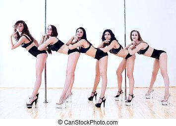 kobiety, taniec, słup