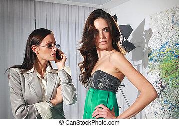 kobiety, w, fason, warsztat, haute couture