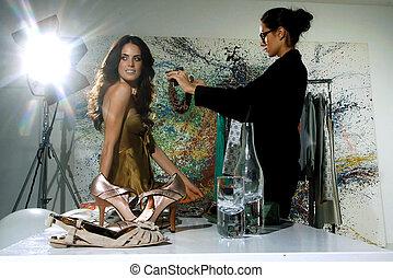 kobiety, w, haute couture, zxz