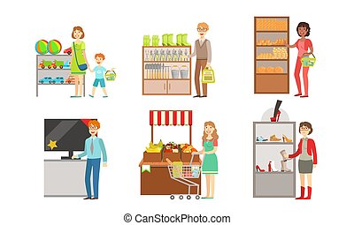 kobiety, wyposażenie, komplet, ogród, kupno, zabawki, owoce, mall, wektor, środek, ilustracja, elektronika, warzywa, supermarket, wewnętrzny, zakupy, ludzie, artykuły spożywcze, mężczyźni