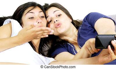 kobiety, zrobienie zabawne twarze