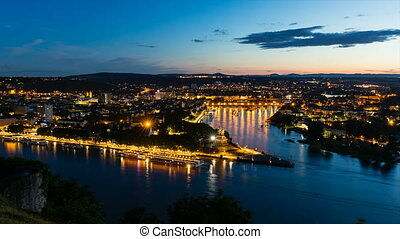 Koblenz Oldtown and Deutsches Eck At Night Time Lapse