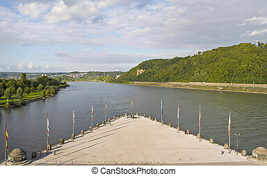 Koblenz - Place the junction of the Rhine and Moselle rivers