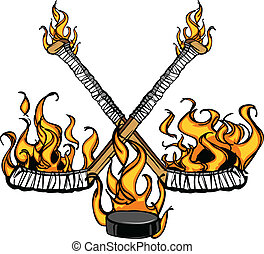 kobold, brennender, stöcke, karren, hockey