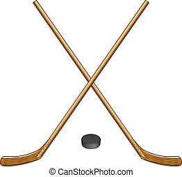 kobold, hockey, eis, stöcke