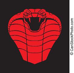 kobra, czarny czerwony