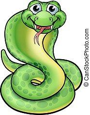 kobra, przyjacielski, rysunek, wąż