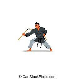 kobudo, illustration., japanisches , kriegerisch, vektor, arts.
