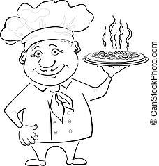 koch, heiß, hält, pizza, kontur