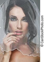 kochający, brunetka, panna młoda, wedding., portret, welon