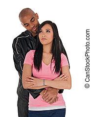 kochający, facet, sceptical-looking, dziewczyna, obejmowanie