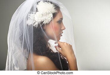 kochający, kobieta, engagement., szczery, loveliness., welon, widok budynku