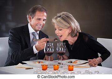 kochający, para, restauracja