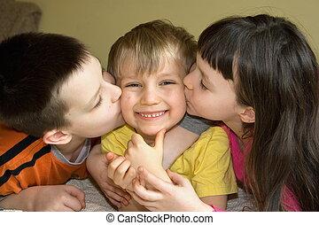 kochający, rodzeństwo