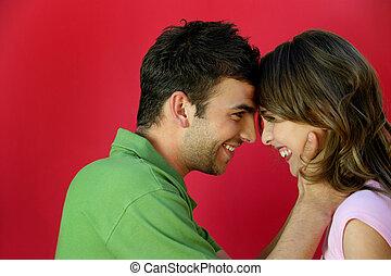 kochający, stał, para, okładzina, inny, każdy