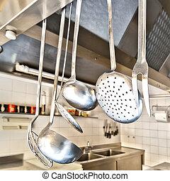 kochen gebrauchsgegenstanden, in, a, kueche