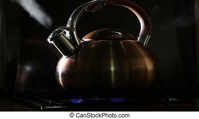 kochen, kessel, schwarzer hintergrund, 5