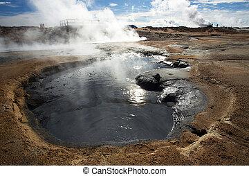 kochen, schlamm, in, namafjall, geothermisch, bereich, hverir, island