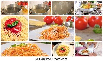 kochen, und, essende, italienesche, spaghett