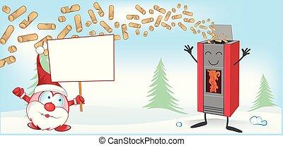 kochherd, claus, weihnachten, maskottchen, santa, karikatur