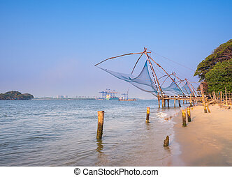 Kochi chinese fishnets in twilight in Kochi, Kerala. Fort Kochin,  Kerala, South India