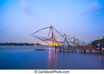 Kochi chinese fishnets in twilight Kochi, Kerala. Fort Kochin, K