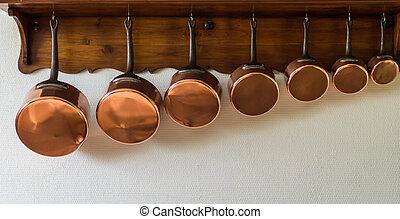 kochtöpfe, hängender , küche