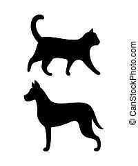 koci, pies, psi, kot, sylwetka, wektor, czarnoskóry