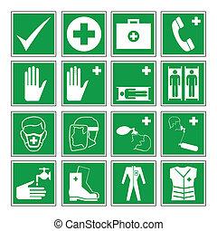 kockázat, figyelmeztetés, egészség, &, biztonság
