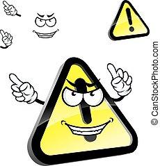 kockázat, figyelmeztetés, karikatúra, figyelem, aláír