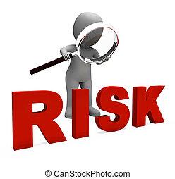 kockázatos, betű, látszik, veszélyes, kockázat, vagy,...