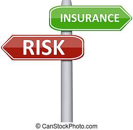 kockáztat, és, biztosítás