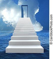 kockáztat, és, siker, ügy, lépcsőház