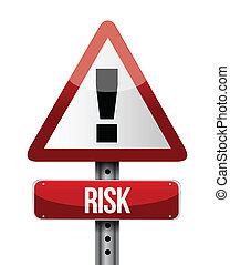 kockáztat, felszólít cégtábla, ábra, tervezés