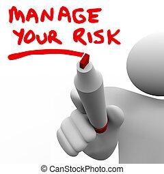 kockáztat, intéz, írás, menedzser, szavak, könyvjelző, -e