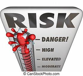 kockáztat, lázmérő, felbecsül, veszély, felelősség