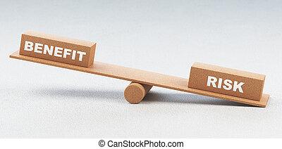 kockáztat, render, fogalom, ábra, előny, egyensúly, 3