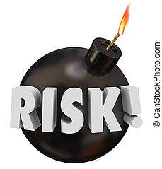 kockáztat, szó, fekete, kerek, bombáz, veszély,...