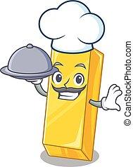 kock, bricka, mat, tecknad film, ha, design, hinder, guld