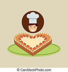 kock, efterrätt, tårta, tecknad film, ht