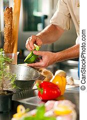 kock, grönsaken, förberedande