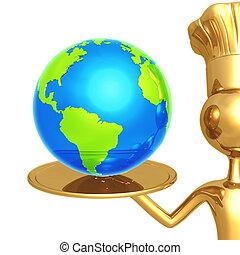 kock, gyllene, tjänande, värld